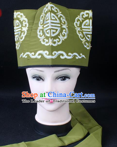 Traditional China Beijing Opera Hair Accessories Lao-Sheng Hat, Ancient Chinese Peking Opera Embroidery Green Landlord Hat