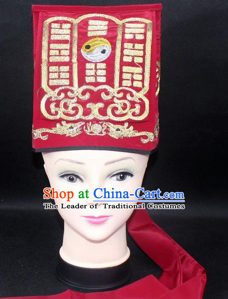 Traditional China Beijing Opera Hair Accessories Lao-Sheng Hat, Ancient Chinese Peking Opera Red Embroidery Gossip Hat