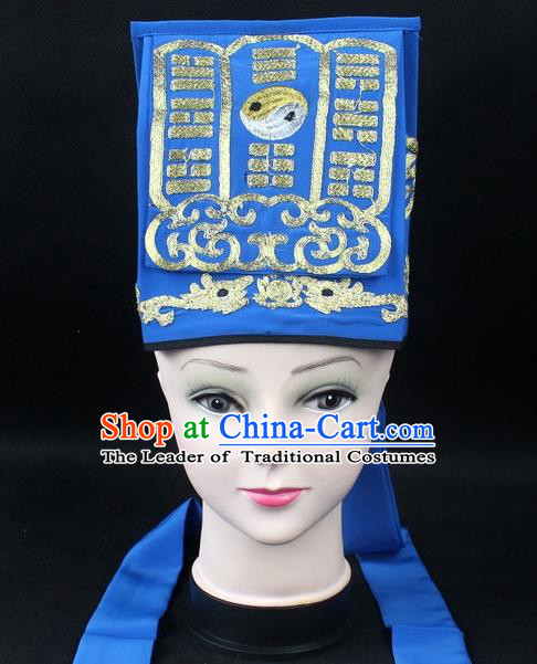 Traditional China Beijing Opera Hair Accessories Lao-Sheng Hat, Ancient Chinese Peking Opera Blue Embroidery Gossip Hat