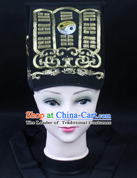 Traditional China Beijing Opera Hair Accessories Lao-Sheng Hat, Ancient Chinese Peking Opera Black Embroidery Gossip Hat