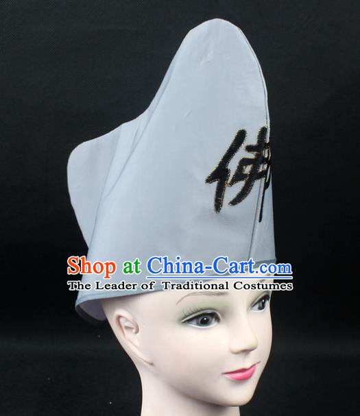 Traditional China Beijing Opera Hair Accessories Buddha Jih Hat, Ancient Chinese Peking Opera Monk Hat