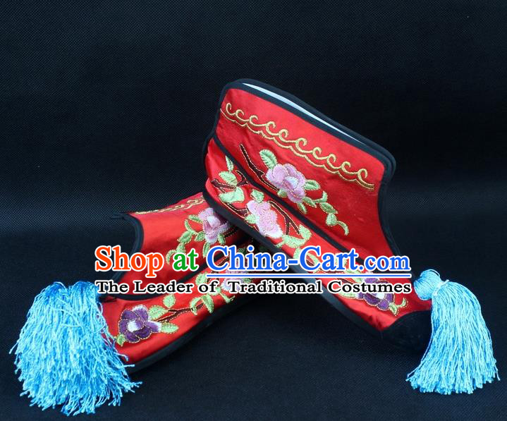 Traditional China Beijing Opera Female Warrior Embroidered Shoes, Ancient Chinese Peking Opera Blues Red Boots