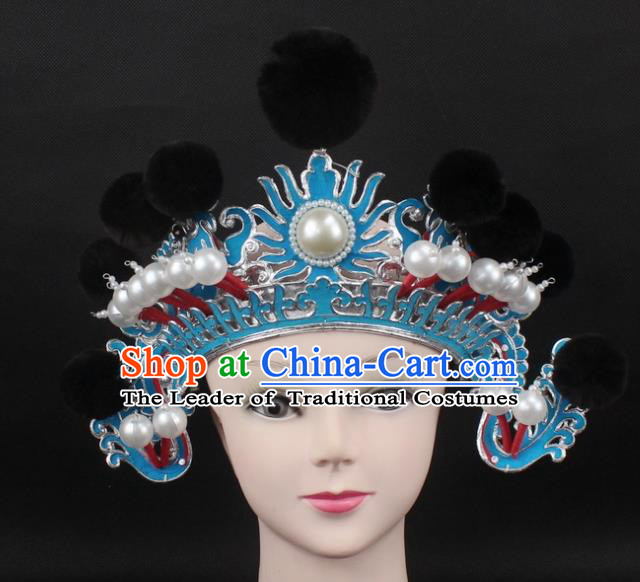 Traditional China Beijing Opera Hair Accessories Black Venonat General Hat, Ancient Chinese Peking Opera Takefu Helmet Headwear