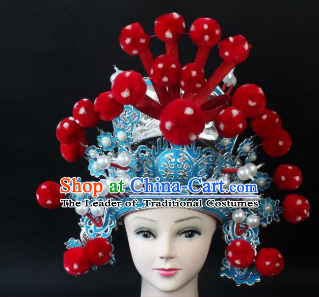 Traditional China Beijing Opera Headpiece General Helmet, Ancient Chinese Peking Opera Takefu Red Venonat Hat Headwear