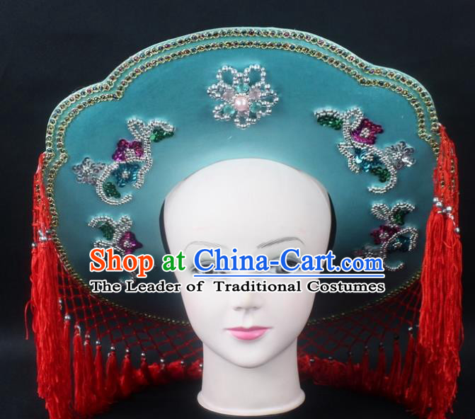 Traditional China Beijing Opera Hair Accessories Fisher-Woman Green Hat, Ancient Chinese Peking Opera Swordplay Helmet Headwear
