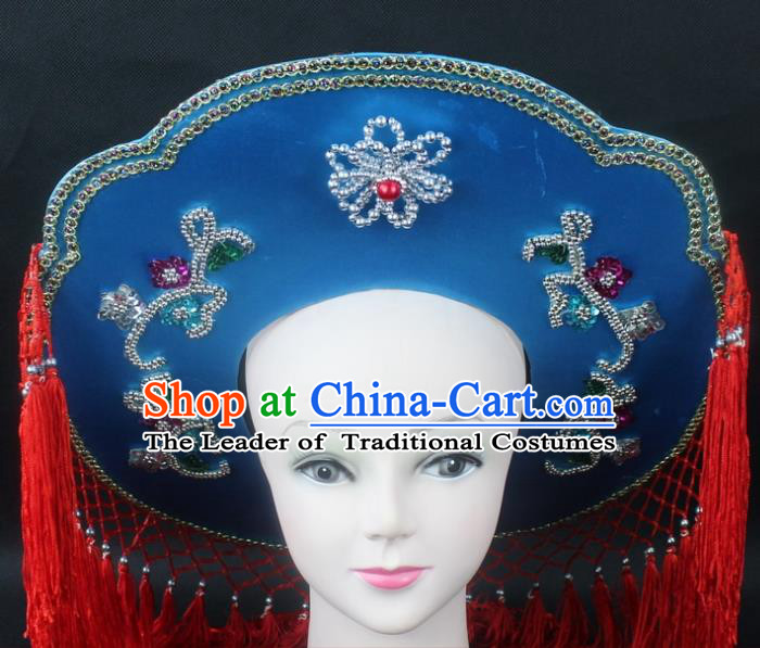 Traditional China Beijing Opera Hair Accessories Fisher-Woman Red Veil Hat, Ancient Chinese Peking Opera Swordplay Helmet Headwear