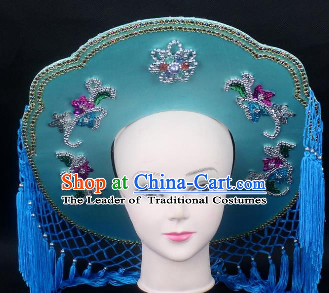 Traditional China Beijing Opera Hair Accessories Fisher-Woman Blue Veil Hat, Ancient Chinese Peking Opera Swordplay Helmet Headwear