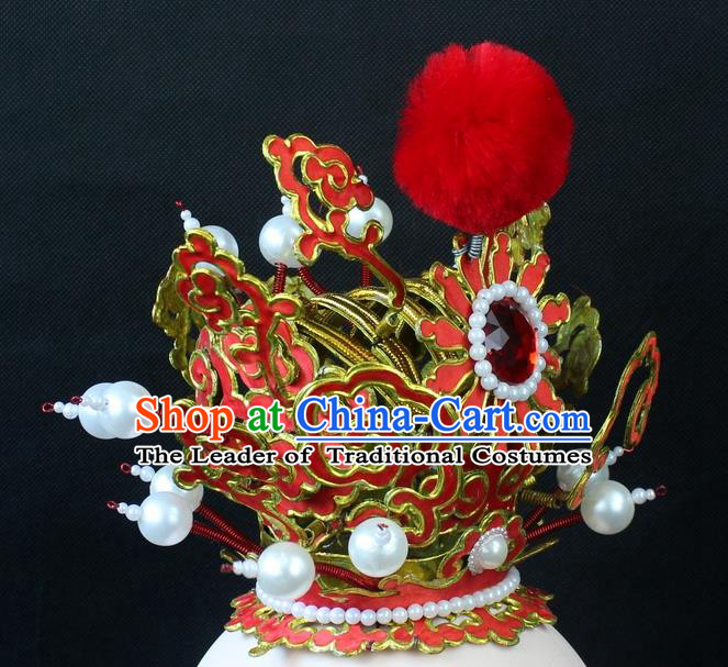 Traditional China Beijing Opera Lang Scholar Niche Sun Wukong Red Tuinga, Ancient Chinese Peking Opera Crown Prince Headwear