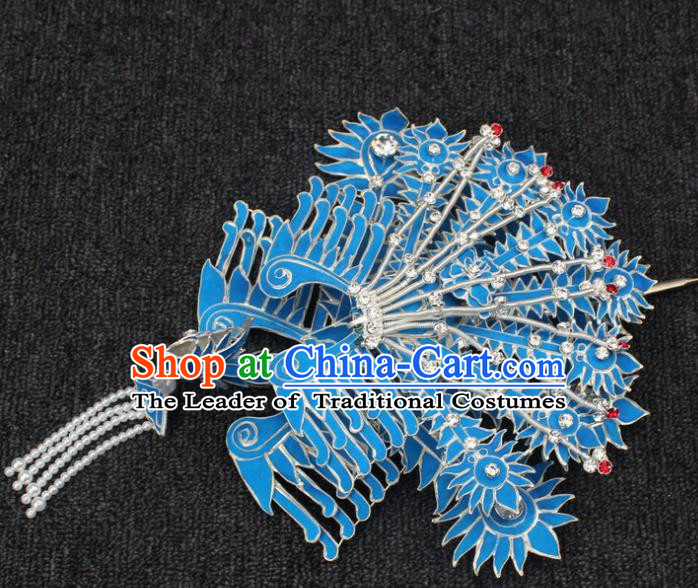 Traditional China Beijing Opera Young Lady Hair Accessories, Ancient Chinese Peking Opera Hua Tan Diva Phoenix Hairpins