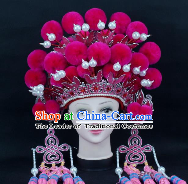 Traditional China Beijing Opera Young Lady Hair Accessories Female General Helmet, Ancient Chinese Peking Opera Swordplay Rosy Venonat Headwear