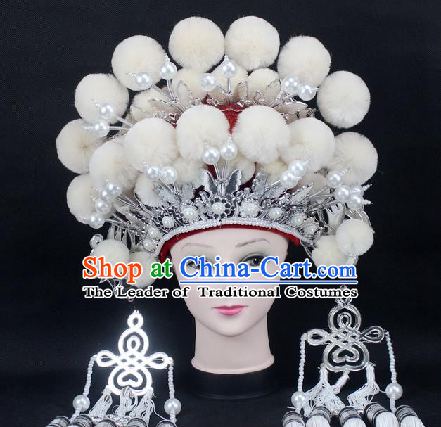 Traditional China Beijing Opera Young Lady Hair Accessories Female General Helmet, Ancient Chinese Peking Opera Swordplay White Venonat Headwear