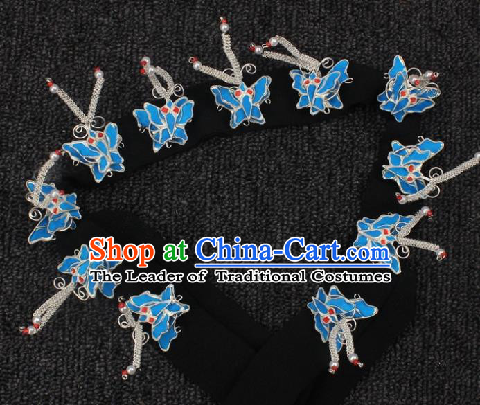Traditional China Beijing Opera Young Lady Hair Accessories Butterfly Headband, Ancient Chinese Peking Opera Hua Tan Diva Headwear
