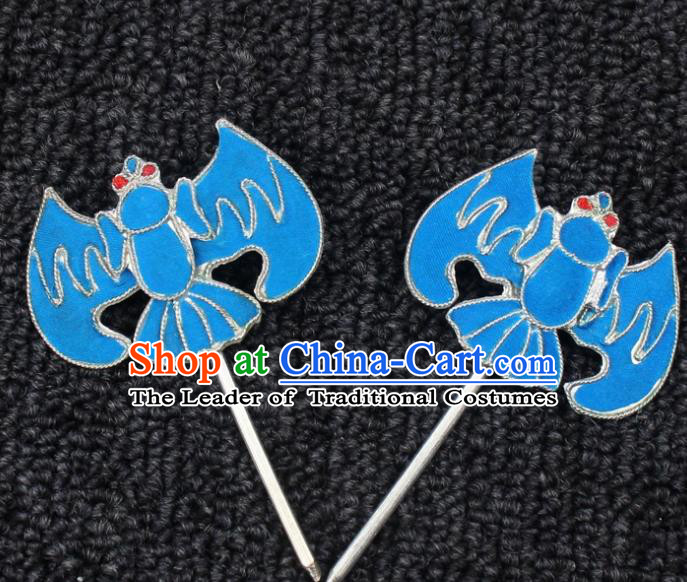 Traditional China Beijing Opera Young Lady Hair Accessories, Ancient Chinese Peking Opera Hua Tan Diva Bat Hairpins