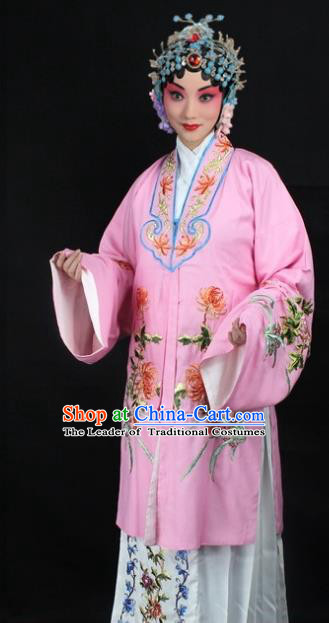 Traditional China Beijing Opera Young Lady Hua Tan Costume Pink Embroidered Cape, Ancient Chinese Peking Opera Female Diva Embroidery Chrysanthemum Dress Clothing