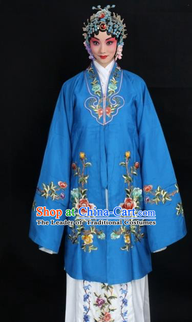 Traditional China Beijing Opera Young Lady Hua Tan Costume Deep Blue Embroidered Cape, Ancient Chinese Peking Opera Female Diva Embroidery Peony Dress Clothing