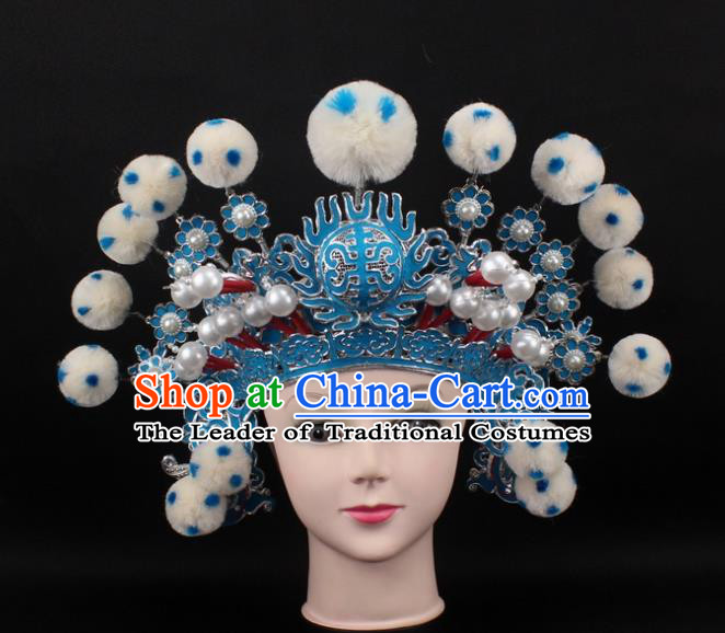 Traditional China Beijing Opera Hair Accessories White Venonat General Hat, Ancient Chinese Peking Opera Takefu Helmet Headwear