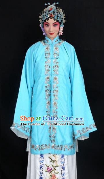 Traditional China Beijing Opera Young Lady Hua Tan Costume Female Blue Embroidered Cape, Ancient Chinese Peking Opera Diva Embroidery Dress Clothing