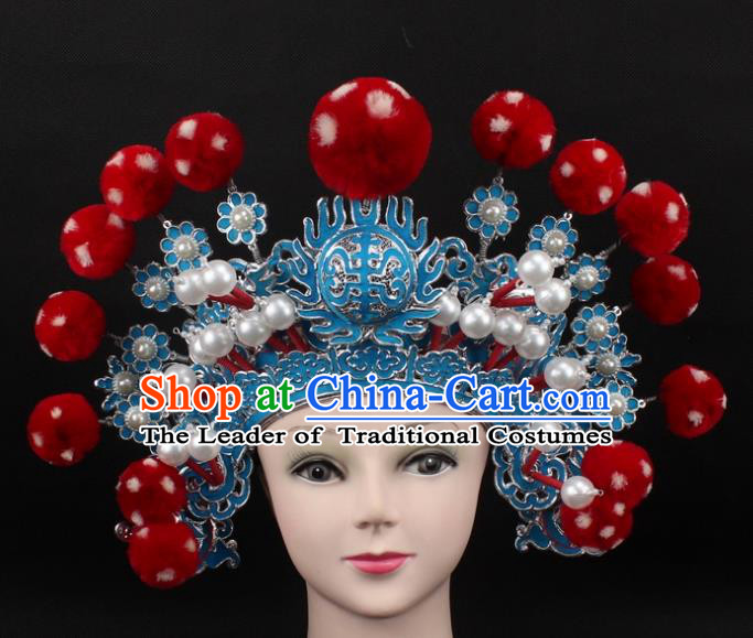 Traditional China Beijing Opera Hair Accessories Red Venonat General Hat, Ancient Chinese Peking Opera Takefu Helmet Headwear