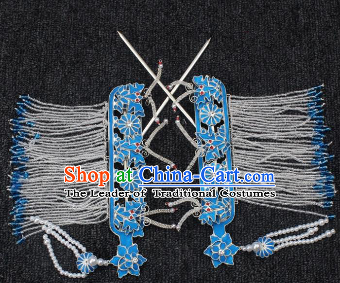Traditional China Beijing Opera Young Lady Hair of Temple Tassel Step Shake, Ancient Chinese Peking Opera Hua Tan Diva Hairpins