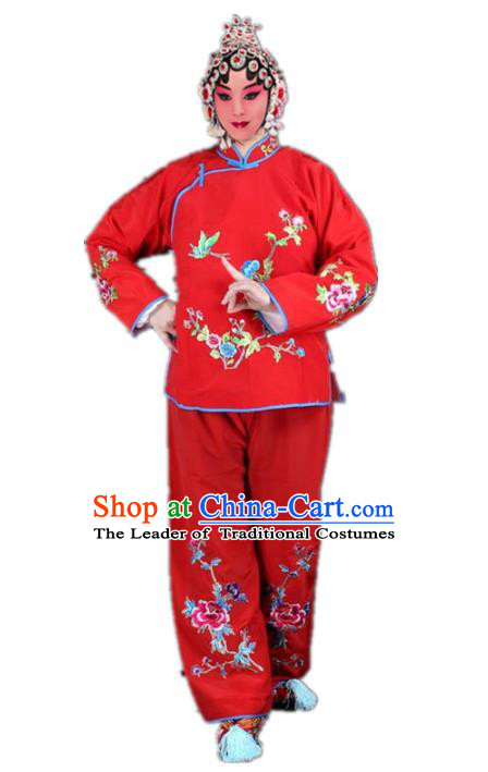 Traditional China Beijing Opera Young Lady Hua Tan Costume Maidservants Embroidered Red Clothing, Ancient Chinese Peking Opera Diva Embroidery Dress Clothing