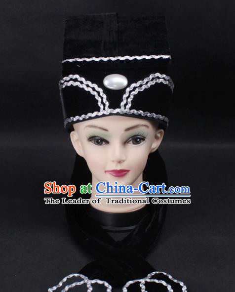 Traditional China Beijing Opera Young Men Hair Accessories Headwear, Ancient Chinese Peking Opera Niche Hat Black Kerchief