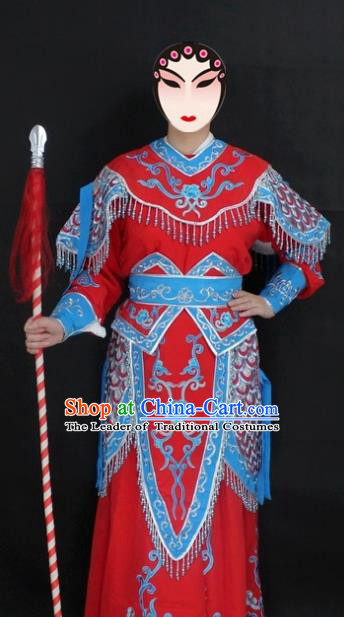 Traditional China Beijing Opera Swordplay Costume Red Embroidered Clothing, Ancient Chinese Peking Opera Blues Embroidery Dress Clothing