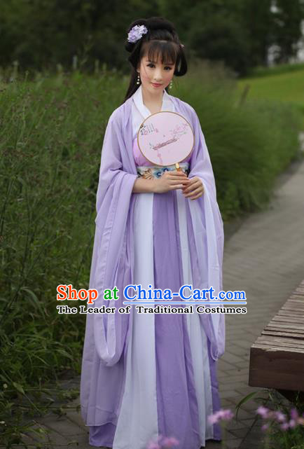 Traditional Chinese Tang Dynasty Young Lady Fairy Embroidery Costume, Elegant Hanfu Clothing Chinese Ancient Princess Dress Clothing for Women