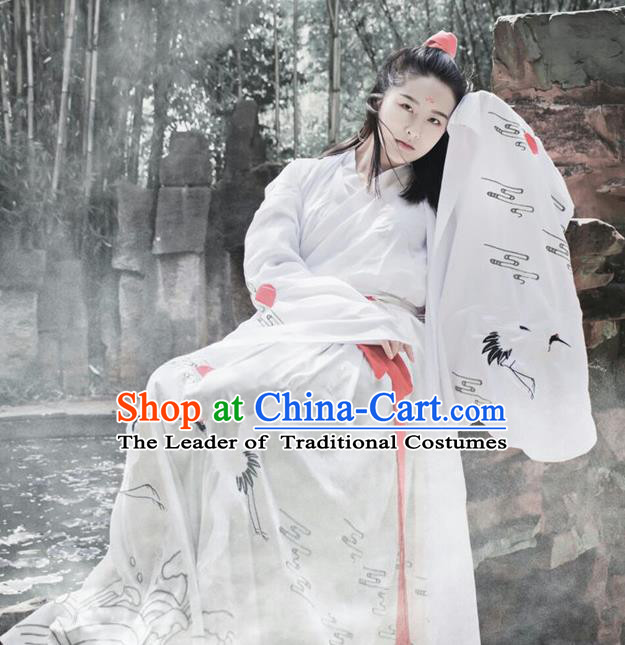 Traditional Chinese Jin Dynasty Young Lady Embroidery Cranes Costume, Elegant Hanfu Clothing Chinese Ancient Princess Dress Clothing for Women