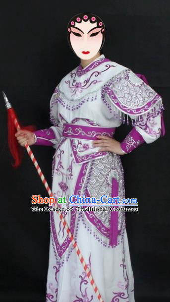 Traditional China Beijing Opera Swordplay Costume Purlpe Embroidered Clothing, Ancient Chinese Peking Opera Blues Embroidery Dress Clothing