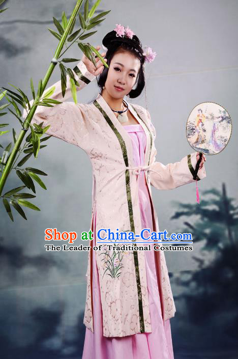 Traditional Chinese Ming Dynasty Imperial Princess Costume Embroidery BeiZi, China Ancient Hanfu Fairy Dress Nobility Lady Clothing for Women