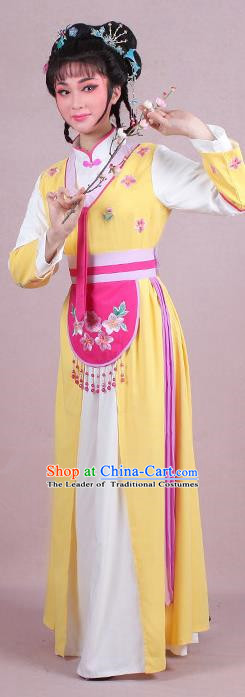 Traditional China Beijing Opera Young Lady Hua Tan Costume Servant Girl Embroidered Yellow Clothing, Ancient Chinese Peking Opera Diva Embroidery Dress Clothing