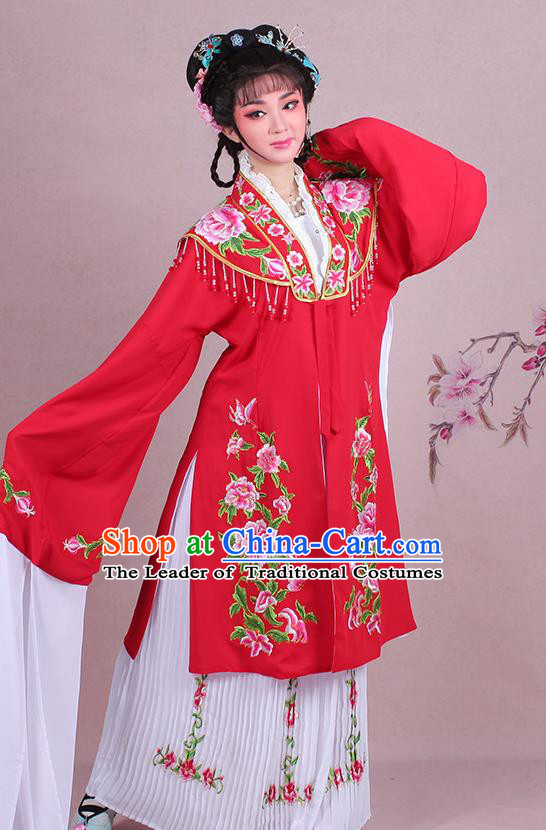Traditional China Beijing Opera Young Lady Hua Tan Costume Embroidered Red Shawl, Ancient Chinese Peking Opera Diva Embroidery Dress Clothing