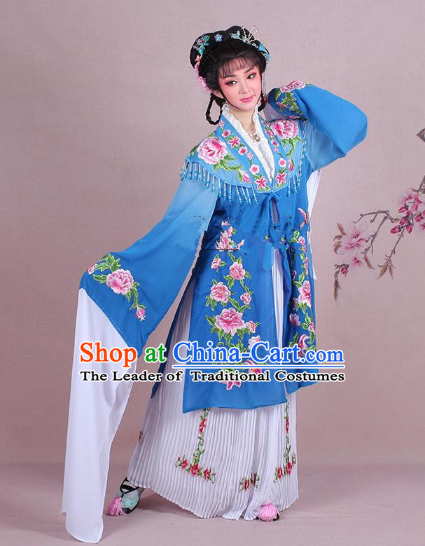 Traditional China Beijing Opera Young Lady Hua Tan Costume Embroidered Blue Shawl, Ancient Chinese Peking Opera Diva Embroidery Dress Clothing