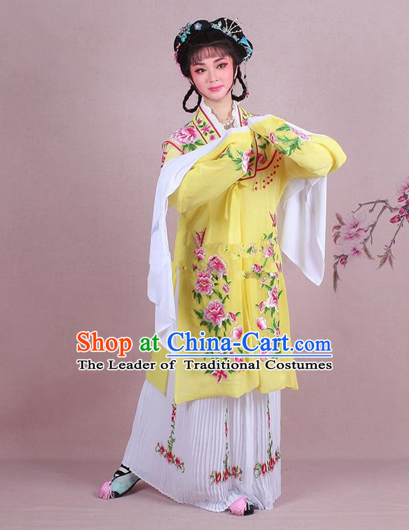 Traditional China Beijing Opera Young Lady Hua Tan Costume Embroidered Yellow Shawl, Ancient Chinese Peking Opera Diva Embroidery Dress Clothing