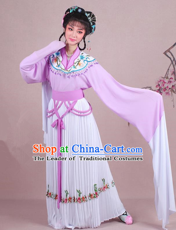 Traditional China Beijing Opera Young Lady Costume A Dream in Red Mansions Maidservants Embroidered Purple Dress, Ancient Chinese Peking Opera Hua Tan Embroidery Clothing