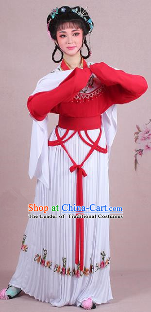 Traditional China Beijing Opera Young Lady Costume A Dream in Red Mansions Maidservants Embroidered Red Dress, Ancient Chinese Peking Opera Hua Tan Embroidery Clothing