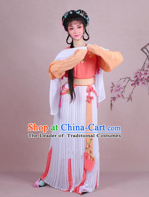 Traditional China Beijing Opera Young Lady Servant Girl Costume Embroidered Orange Dress, Ancient Chinese Peking Opera Diva Embroidery Clothing