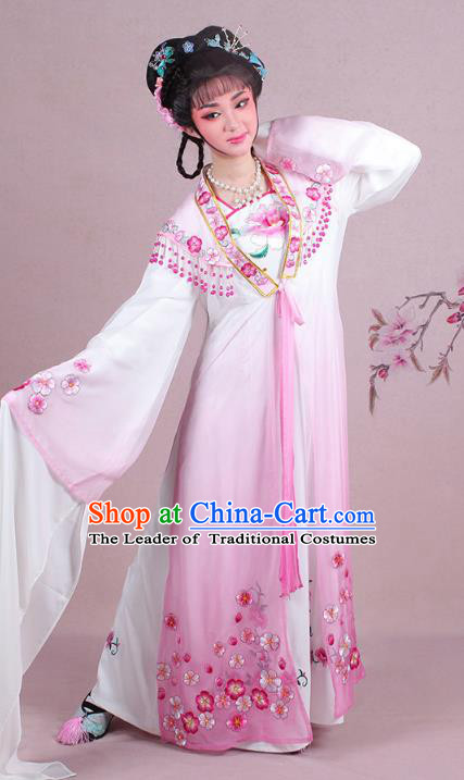 Traditional China Beijing Opera Young Lady Costume Embroidered Pink Fairy Dress, Ancient Chinese Peking Opera Diva Embroidery Plum Blossom Clothing