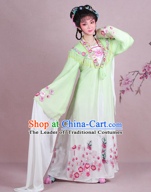 Traditional China Beijing Opera Young Lady Costume Embroidered Green Fairy Dress, Ancient Chinese Peking Opera Diva Embroidery Plum Blossom Clothing
