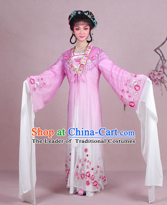 Traditional China Beijing Opera Young Lady Costume Embroidered Purple Fairy Dress, Ancient Chinese Peking Opera Diva Embroidery Plum Blossom Clothing