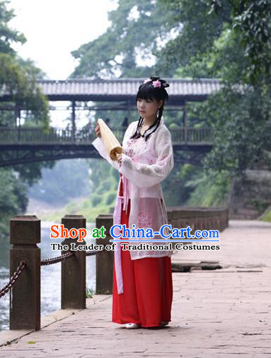 Traditional Chinese Song Dynasty Young Lady Costume Blouse and Pants, China Ancient Hanfu Dress Palace Princess Embroidery Clothing for Women