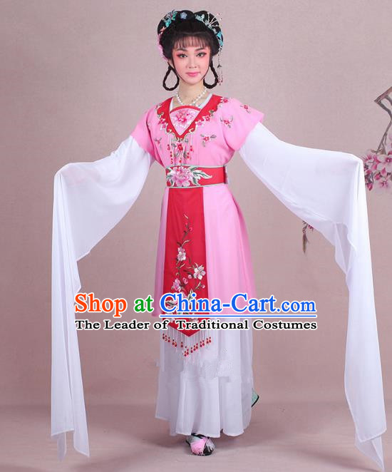 Traditional China Beijing Opera Young Lady Costume Embroidered Pink Servant Girl Dress, Ancient Chinese Peking Opera Diva Embroidery Peony Clothing