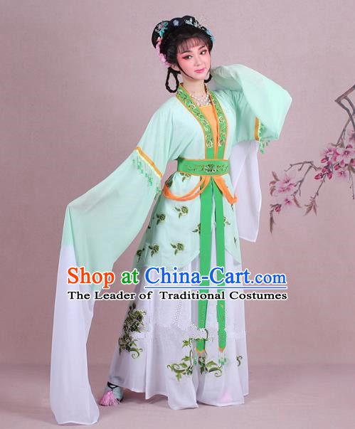 Traditional China Beijing Opera Young Lady Costume Embroidered Green Servant Girl Dress, Ancient Chinese Peking Opera Diva Embroidery Clothing