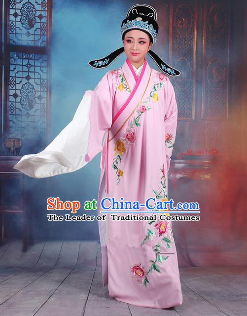 Traditional China Beijing Opera Niche Costume Gifted Scholar Pink Embroidered Robe and Hat, Ancient Chinese Peking Opera Young Men Embroidery Peony Clothing