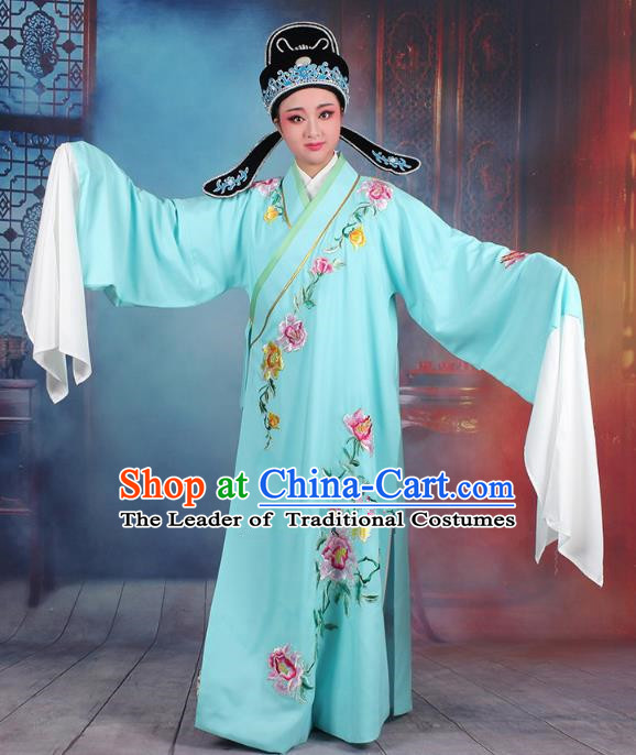 Traditional China Beijing Opera Niche Costume Gifted Scholar Blue Embroidered Robe and Hat, Ancient Chinese Peking Opera Young Men Embroidery Peony Clothing