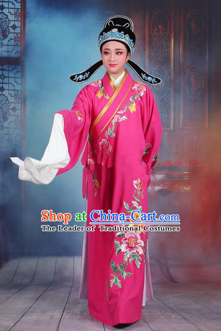 Traditional China Beijing Opera Niche Costume Gifted Scholar Rosy Embroidered Robe and Hat, Ancient Chinese Peking Opera Young Men Embroidery Peony Clothing