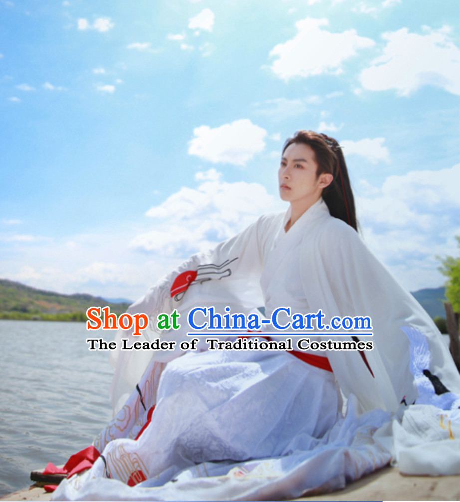Chinese Classical Embroidered Crane Hanfu Clothing for Men or Women