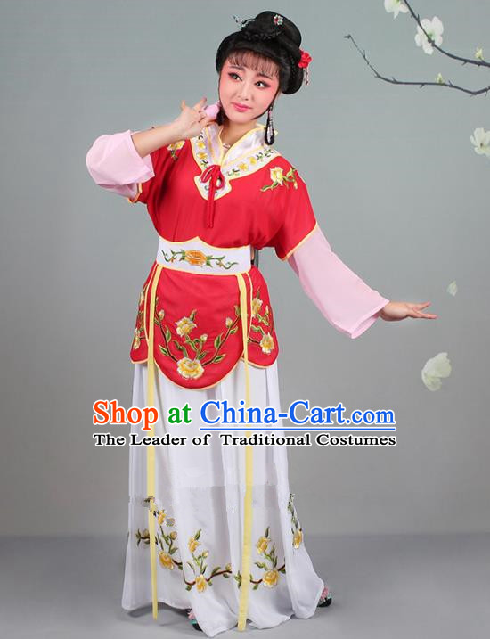 Traditional China Beijing Opera Young Lady Costume Servant Girl Embroidered Red Dress, Ancient Chinese Peking Opera Diva Jordan-Sitting Embroidery Clothing
