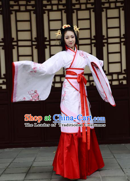 Traditional Chinese Han Dynasty Imperial Princess Curve Bottom Costume, China Ancient Hanfu Dress Palace Lady Hand Painting Plum Blossom Clothing for Women