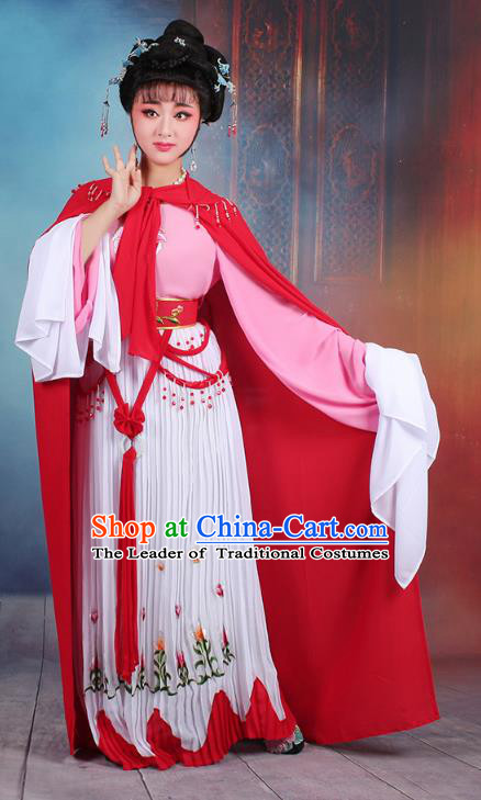 Traditional China Beijing Opera Young Lady Hua Tan Costume Romance of the Western Chamber Embroidered Dress and Red Cloak, Ancient Chinese Peking Opera Diva Embroidery Clothing